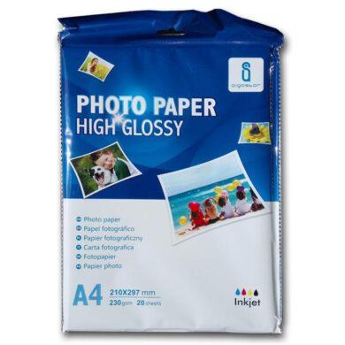 Fotopapír A4 Aigostar pro ink. tiskárny - bal. 20 listů - lesklý - 230 gr.(069-03001)